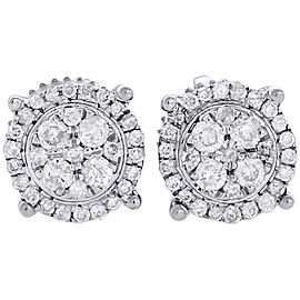 10K White Gold with 0.25ct Diamond Flower Stud Halo Earrings