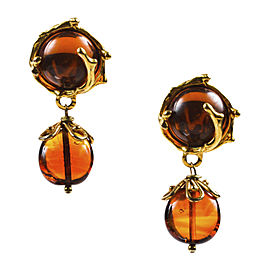 Yves Saint Laurent Gold Tone & Burnt Orange Resin Embellished Drop Clip On Earrings