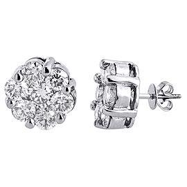 14K White Gold with 5.50ct Diamond Flower Stud Earrings