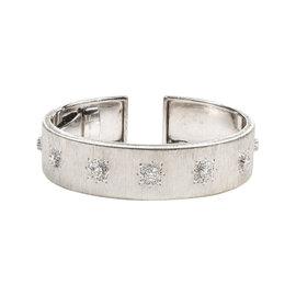"""Buccellati 18K White Gold Diamond """"Macri Classica"""" Hinge Cuff Bracelet"""