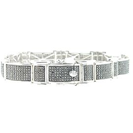 925 Sterling Silver 3.50ct Black Diamond Link Bracelet
