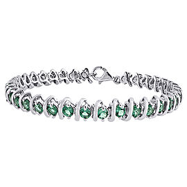 925 Sterling Silver 6.48ct Lab Created Green Emerald Tennis Bracelet