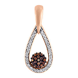 10K Rose Gold with 0.15ct Red Diamond Tear Drop Flower Charm Pendant