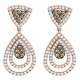 14K Rose Gold with 2.54ct Brown and White Diamond Teardrop Dangle Earrings