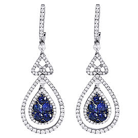 14K White Gold with 1.35ct Blue Sapphire & 1.28ct Diamond Dangle Teardrop Earrings