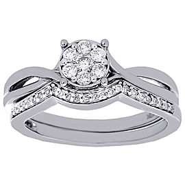 10K White Gold with 0.34ct Diamond Wedding & Infinity Engagement Ring Size 7