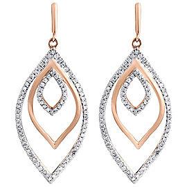 10K Rose Gold 0.45ct Diamond Dangle Drop Earrings