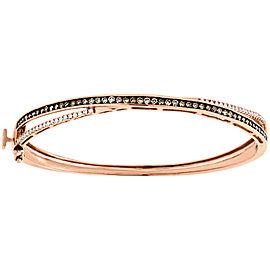 14K Rose Gold 1ct Brown & White Diamond Criss Cross Bangle Bracelet