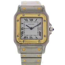 Cartier Santos 18K Yellow Gold & Stainless Steel 29 mm Mens Watch