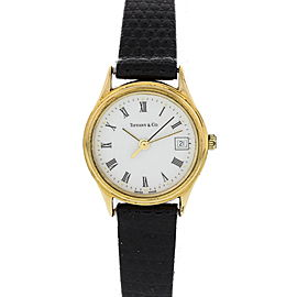 Tiffany & Co Portfolio Electroplated Gold Plated Stainless Steel & Leather 23mm Womens Watch