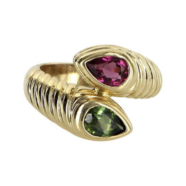 Bvlgari 18K Yellow Gold 1.40 Ct Green and Pink Tourmaline Vintage Doppio Ring Size 6.25