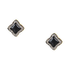 David Yurman 18K Yellow Gold Black Onyx & Diamond Post Earrings