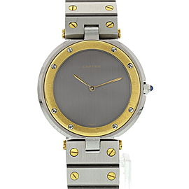 Cartier Santos Ronde 18K Yellow Gold & Stainless Steel Gray Dial Quartz 33mm Unisex Watch