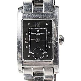 "Baume & Mercier ""Hampton"" Black & Stainless Steel Quartz Bracelet 21mm Womens Watch"