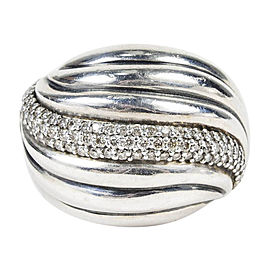 David Yurman Sterling Silver with 0.44ct Diamond Dome Ring Size 6