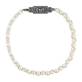 Lanvin Gunmetal Hardware & Faux Pearl Ribbon Crystal Plaque Strand Necklace
