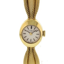 Chopard 18K Yellow Gold White Dial Manual Vintage 15mm Womens Watch