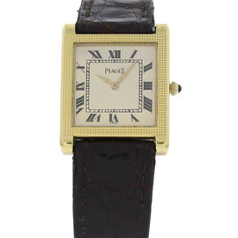 Piaget 931 18K Yellow Gold & Leather White Dial Manual Vintage 23mm Unisex Watch