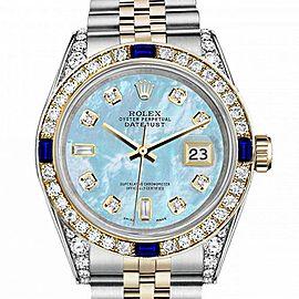 Women's Rolex 31mm Datejust 2 Two Tone Jubilee Baby Blue MOP Mother Of Pearl 8+2 Diamond Dial Bezel + Lugs + Sapphire