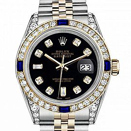 Women's Rolex 31mm Datejust Two Tone Jubilee Black Color Dial 8 + 2 Bezel + Lugs + Sapphire