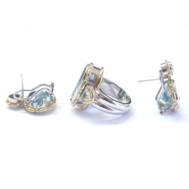Others Aquamarine, Diamond Womens Earrings Size 5.5