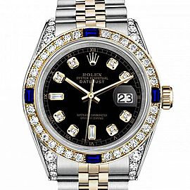 Women's Rolex 31mm Datejust Two Tone Jubilee Black Color Dial 8 + 2 Diamond Accent Bezel + Lugs + Sapphire