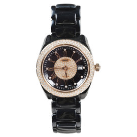 Versace 01AC9 Gray Ceramic Rose Gold Stainless Steel Diamond 38mm Unisex Watch