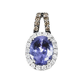 LeVian 14K White Gold with Tanzanite & Chocolate Diamond Oval Pendant