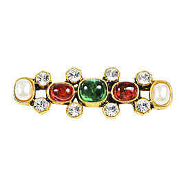 Chanel Gold Tone Metal Multicolor Gripoix Simulated Glass Pearl Embellished Brooch Pin