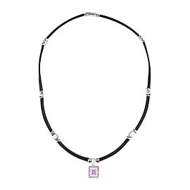 "Charriol ""Celtic Noir"" 18K White Gold/Stainless Steel with Diamond & Pink Sapphire Necklace"