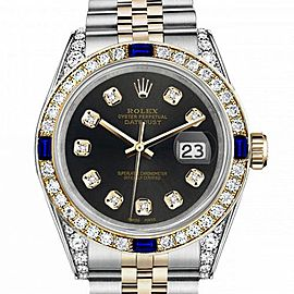 Women's Rolex 31mm Datejust Two Tone Jubilee Chocolate Dial Diamond Accent Bezel + Lugs + Sapphire
