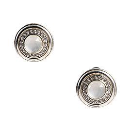 John Hardy Sterling Silver Diamond & Moon Quartz Round Post Earrings