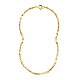 Chanel Autumn Gold Tone Metal Faberge Egg Station Chain Necklace
