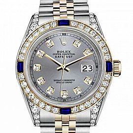 Women's Rolex 31mm Datejust Two Tone Jubilee Grey Color Dial Diamond Accent RT Bezel + Lugs + Sapphire