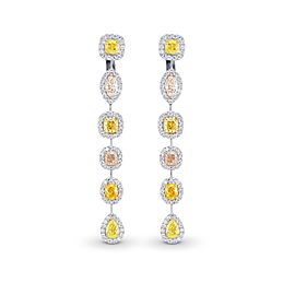 Leibish 18K White and Yellow Gold Multi-Color Diamond Drop Halo Earrings