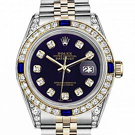 Women's Rolex 31mm Datejust Two Tone Jubilee Purple Color Dial Diamond Accent Bezel + Lugs + Sapphire