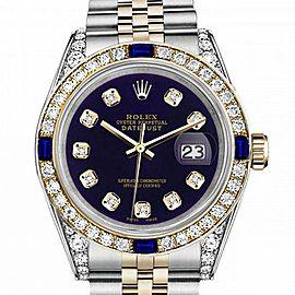 Women's Rolex 31mm Datejust Two Tone Jubilee Purple Color Dial Diamond Accent Bezel + Lugs + Sapphire