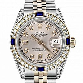 Women's Rolex 31mm Datejust Two Tone Jubilee Silver Color Dial 8 + 2 Diamond Accent Bezel + Lugs + Sapphire 68273