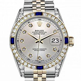Women's Rolex 31mm Datejust Two Tone Jubilee Silver Color Dial Diamond Accent RT Bezel + Lugs + Sapphire