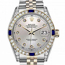 Women's Rolex 31mm Datejust Two Tone Jubilee Silver Color Dial Diamond Accent RT Bezel + Lugs + Sapphire