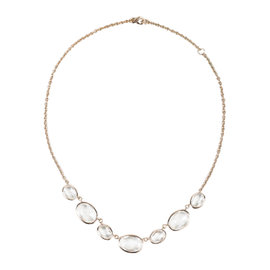 Ippolita Clear Quartz & Rose Gold Plated Seven Station Necklace
