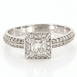 Vintage 14K White Gold with 0.98ct Diamond Square Engagement Ring Size 8.25