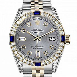Women's Rolex 31mm Datejust Two Tone Jubilee Slate Grey Color Dial 8 + 2 Diamond Accent Bezel + Lugs + Sapphire