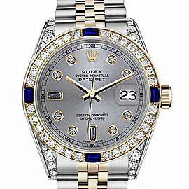 Women's Rolex 31mm Datejust Two Tone Jubilee Slate Grey Color Dial 8 + 2 Diamond Accent Bezel + Lugs + Sapphire