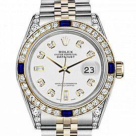 Women's Rolex 31mm Datejust Two Tone Jubilee White Color Dial 8 + 2 Diamond Accen Bezel + Lugs + Sapphire