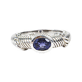 Judith Ripka 925 Sterling Silver & Amethyst Stacking Ring Size 7