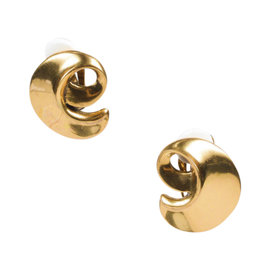 Oscar de la Renta Brass Plated Metal Swirl Clip On Earrings
