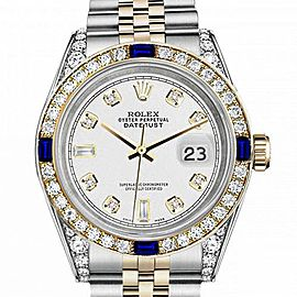 Women's Rolex 31mm Datejust Two Tone Jubilee White Color Dial 8+2 Diamond Accent RRT Bezel + Lugs + Sapphire