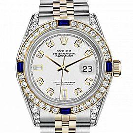 Women's Rolex 31mm Datejust Two Tone Jubilee White Color Dial 8+2 Diamond Accent RRT Bezel + Lugs + Sapphire