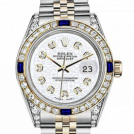 Women's Rolex 31mm Datejust Two Tone Jubilee White Color Jubilee Dial Diamonds Bezel + Lugs + Sapphire